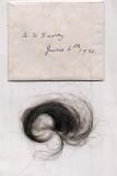 Arthur Savory - 1921 Jun 6, Envelope containing lock of hair belonging to A H Savory