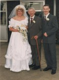 Mr & Mrs A Benfield with Ernie Wardle (groom's maternal grandfather)