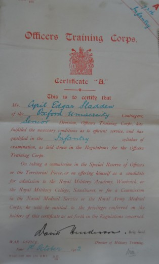 Cyril Sladden Officers Training Corps Certificate