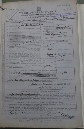 Cecil Brown Constable's Attestation Papers